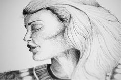 #art #drawing #dots #pointillismus #woman #portrait