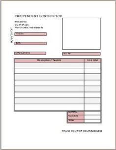 General Contractor Invoice  Independent Contractor Invoice