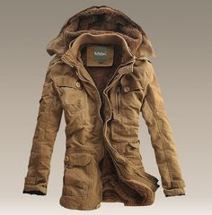 d4ddeddb195d New Mens Winter Fur Lined hooded parka trench long Warm casual Coat Jacket
