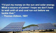 Solar energy versus oil and coal energy.