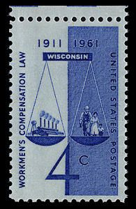 This stamp mark the 50th anniversary of the first successful workmen's compensation legislation. The Wisconsin law set a pattern for vital compensation laws passed subsequently throughout the country to provide protection for employees and their families in the event of accident and resulting disabilities.