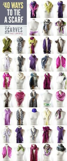 40 ways to tie a scarf. #fashion