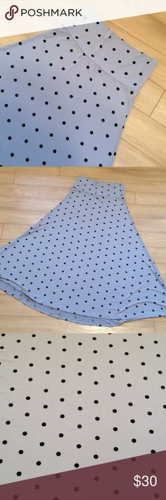 Flash Sale! LulaRoe Maxi Skirt Cool grey with black polka dots. EUC, like new. Only worn once. This will look great with all of your holiday sweaters! LuLaRoe Skirts Maxi