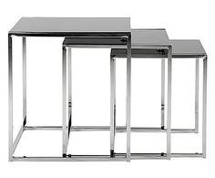 Set di 3 tavolini in vetro e acciaio Cross - 50x55x50 cm