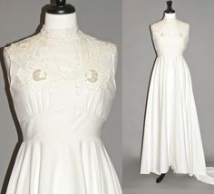 Vintage 70s Wedding Dress White 1970s Hippie by daisyandstella