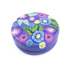 "Trinket Box Pill Box Treasure Box Engagement Ring Box Purple Round Handmade Polymer Clay Tin Interior Gift for Her Floral Cane Work 2"" Wide by SweetchildJewelry on Etsy https://www.etsy.com/listing/477628903/trinket-box-pill-box-treasure-box"