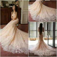 Luxury Romantic Mermaid Vestido de noiva Flowers Tulle Wedding Dress