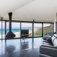 This elevated dream residence overlooking the waters of Australia was designed by F2 Architecture.