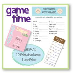 Printable baby shower games, water bottles labels, candy wrappers and favor tags! #babyshower