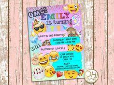 NUEVA invitación de cumpleaños de EMOJI, emoji invitación cumpleaños emoji, emoji partido, invitaciones emoji, invitan a emoji, emoji, partido emoji, emoji tarjeta * BANNER, CUPCAKE TOPPERS, BOTELLA DE AGUA DE LA ETIQUETA Y GRACIAS ETIQUETAS! AQUÍ!: https://www.etsy.com/listing/513760534/emoji-birthday-emoji-birthday?ref=shop_home_active_5 ¡Personalizada su cumpleaños especial con esta única invitación de fiesta de cumpleaños! Este listado está para una invitac...