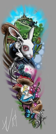 FULLSLEEVE Design - Alice in Wonderland by StevenDureckArtworks tatoo feminina - tattoo feminina del Alice In Wonderland Tattoo Sleeve, Alice In Wonderland Drawings, Cheshire Cat Alice In Wonderland, Alice And Wonderland Quotes, Alice In Wonderland Pictures, Disney Sleeve Tattoos, Disney Tattoos, Tattoo Drawings, Body Art Tattoos