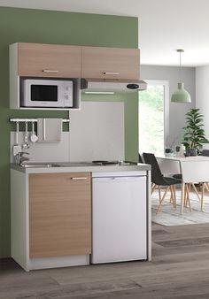 Look naturel tout en douceur pour cette kitchenette couleur bois