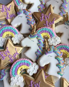 Unicorn and star birthday cookies by Krauft Cookies in Fayetteville Arkansas. - Just Pin Happy Birthday Cookie, Happy 11th Birthday, Birthday Cookies, Horse Cookies, Unicorn Cookies, Rainbow Unicorn Party, Unicorn Themed Birthday Party, Sugar Cookie Buttercream Frosting, Rainbow Sugar Cookies