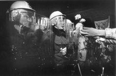 In fondo a Národní, i dimostranti si erano trovati davanti una fila di agenti della squadra antisommossa. I poliziotti avevano il casco in testa e degli scudi trasparenti in plexiglas a forma di coperchio di cassa da morto. Una giovane donna porse un garofano a un poliziotto ancora più giovane di lei. Lei aveva i capelli biondi, ancora più scompigliati dei petali del garofano, lui lineamenti eleganti, formali e vuoti come il pezzo di plexiglas scanalato appoggiato contro il braccio.