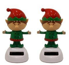 Set Of 2 Solar Powered Dancing Christmas Elves (Elf), 2015 Amazon Top Rated Solar #Toy