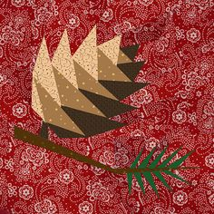 Pine Cone paper pieced quilt block pattern PDF by BubbleStitch Patchwork Quilt, Paper Pieced Quilt Patterns, Quilt Block Patterns, Pattern Blocks, Quilt Blocks, Scrappy Quilts, Quilting Projects, Quilting Designs, Quilting Tutorials