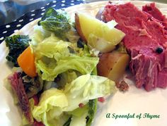 Corned Beef and Cabbage, made in a cast iron dutch oven.