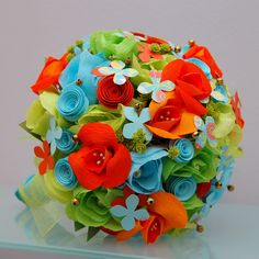 Paper Flower Bouquet - Orange, Blue, and Green. $120.00, via Etsy.