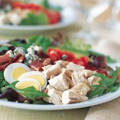 Chicken Cobb Salad (Baby Greens, Baby Spinach, Chopped Cooked Chicken, Oven Roasted Halved Cherry Tomatoes, Bacon, Sliced Hard-Boiled Eggs, Avocado Slices, Blue Cheese, Ranch Dressing, Fresh Chopped Chives)