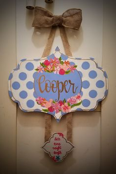 Adorable design for a nursery or a hospital door hanger! Message me for any questions you may have. :) Hospital Door Hangers, Baby Door Hangers, Wall Hanger, Baby Chart, Teacher Name Signs, Baby Girl Bedding, Little Boy Outfits, Name Art, Baby Girl Names