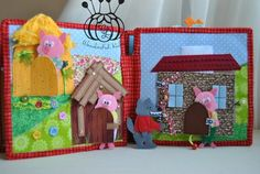 Three Little Pigs quiet book Page, fairy takes book Please note, this item is a quiet book consists of 2 pages + cover. Size 1 page 21 * 21 cm, in the photo on page 2 of the three little pigs tale. The roofs of houses removed. Large stone house opens, the wolf falls into the fireplace.