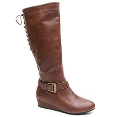 Kisses by 2 Lips Too Too Shake Women's Knee-High Wedge Boots, Girl's, Size: medium (11), Brown