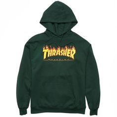Thrasher Flame Logo Hooded Sweatshirt ($60) ❤ liked on Polyvore featuring tops, hoodies, hooded sweatshirt, hooded pullover, green hooded sweatshirt, green hoodie and green hoodies