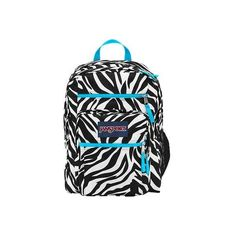 JanSport Big Student Overexposed Backpack - Miss Zebra/Mammoth Blue ($49) ❤ liked on Polyvore featuring bags, backpacks, blue zebra print backpacks, zebra print backpack, day pack backpack, backpacks bags and jansport