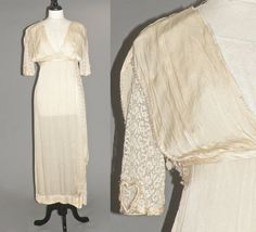 Edwardian Belle Epoque Wedding Dress, Art Nouveau 1910s Grecian Gown, Heart on Her Sleeve by daisyandstella on Etsy