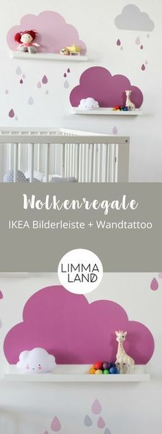 Clouds Nursery Decor: With wall decals suitable for the IKEA Picture Bars. - Meral Kösem - - Clouds Nursery Decor: With wall decals suitable for the IKEA Picture Bars. Cloud Nursery Decor, Clouds Nursery, Wallpaper Clouds, Baby Bedroom, Kids Bedroom, Bedroom Ideas, Wall Stickers Clouds, Wall Decals, Ikea Deco