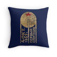 """CCCP Sputnik 1 First Satellite"" Throw Pillows by Lidra   Redbubble"
