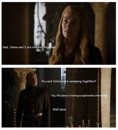 Parenting denial at its finest. Tywin and Cersie Lannister #HearMeRoar #GameOfThrones #ASOIAF