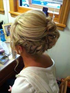 Braided side updo I believe it looks good with all different hair types. Up Hairstyles, Pretty Hairstyles, Wedding Hairstyles, Bridesmaid Hairstyles, Wedding Updo, Wedding Hair And Makeup, Hair Makeup, Homecoming Hairstyles, Prom Updo