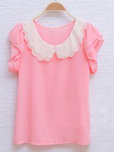 SheInside : Pink Scallop Layered Neck Ruffle Pearls Sleeve Chiffon Blouse $28.64