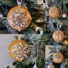 Handmade Christmas Decorations, Xmas Decorations, Holiday Gifts, Holiday Decor, Gold Ornaments, Beautiful Gift Boxes, Xmas Tree, Ribbons, Rhinestones
