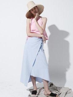 ECOMMAE Linen Long Wrap Skirt Denim Blue