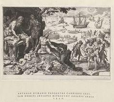 Dirck Volckertsz Coornhert | Beschaving wordt gebracht bij de Indianen, 1530, Dirck Volckertsz Coornhert, Hieronymus Cock, 1555 | In de voorgrond worden Spaanse soldaten door Indianen gevild en gevierendeeld. Een van de Indianen verwijdert de organen van zijn slachtoffer. In de achtergrond vechten Indianen en Spanjaarden een veldslag uit. De prent maakt deel uit van een twaalfdelige serie over de overwinningen van Karel V. Hij heeft een aparte tekststrook met een Latijnse tekst.