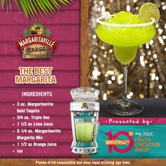 Which one is the best margarita? Well how about a margarita whose name is The Best Margarita? I think that's a clear winner! Margaritaville Margarita Machine, Margaritaville Machine Recipes, Margaritaville Frozen Concoction Maker, Cocktail Drinks, Fun Drinks, Yummy Drinks, Alcoholic Drinks, Cocktails, Mixed Drinks