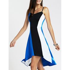 Wholesale Spaghetti Strap Color Blocks High-Low Dress Only $4.98 Drop Shipping | TrendsGal.com
