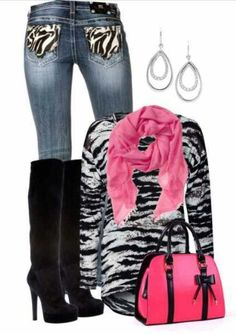 Zebra print outfit with pink acccents