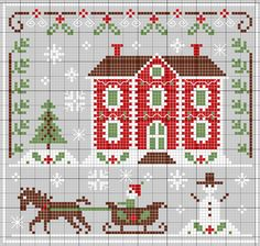 Big House at Christmas Online Counted Cross-Stitch Pattern