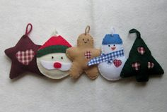 Country Heart Christmas Tree Ornaments Set of 5