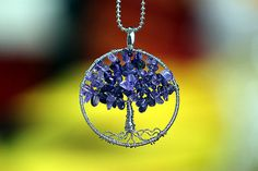 62 Stones Natural Amethyst Round Tree Pendant Necklace Deluxe High Level Handcrafted    Contents : Pendant with chain(please choice)    Type :