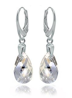 Sterling Silver 925 Drop and Dangle Moonlight Leverback Earrings Dazzling with Swarovski Crystals * Read more  at the image link. Note:It is Affiliate Link to Amazon.