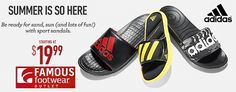 FAMOUS FOOTWEAR OUTLET Summer Is So Here. Be Ready For Sand, Sun, And Lots Of Fun With Sport Sandals. Men's Adidas Starting At $19.99