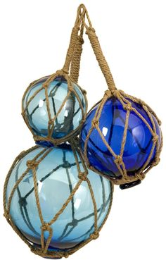 Ocean Blue Buoyant Glass Floats with Rope Netting.