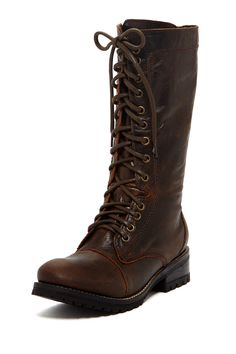 """Ajay Lace-Up Boot in brown by Patron $279 - ($104) $110 @HauteLook. - Round toe - Lace-up vamp - Side zip closure - Topstitched detail - Lug sole - Approx. 10.75"""" shaft height, 13.5"""" opening circumference - Approx. 1.5"""" heel, 0.5"""" platform - Leather upper and lining, manmade sole"""