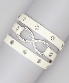 Take a look at this White Infinity Eyelet Leather Wrap Bracelet by Rachelle Soussan on #zulily today!