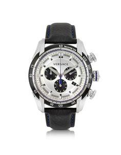 Orologio da uomo della collezione V-Ray dotato di movimento al quarzo analogico con cassa rotonda in acciaio. Il cinturino è realizzato in pelle nera con cuciture blu a contrasto.