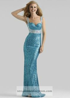 Turquoise Long Sequins Straps Clarisse 2413 Prom Dresses